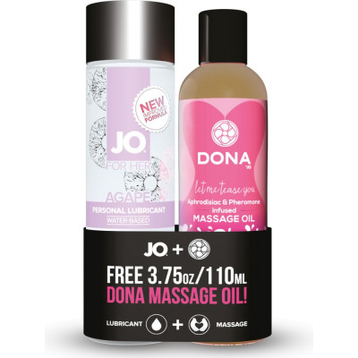 Kit lubrificante e olio massaggi Agape + Free Dona Massage Oil System Jo